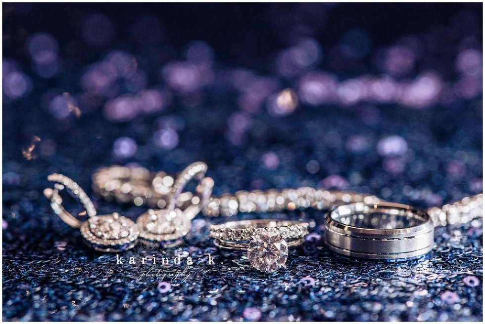 Houston Wedding Rings Photography Blue Sequin